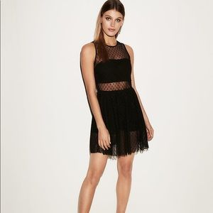 Express Dotted Mesh Bandeau Fit And Flare Dress